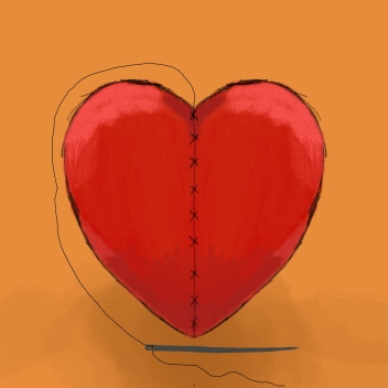 A red heart with stitching up the middle holding it together. There is a needle and thread sat underneath.
