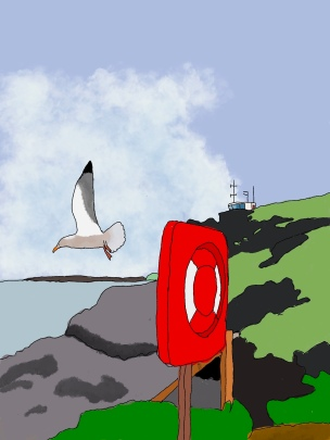 A white seagull has taken flight from its perch on top of a life ring. In the background are rocks, and the ocean. On top of the hill is a lookout station for boats.