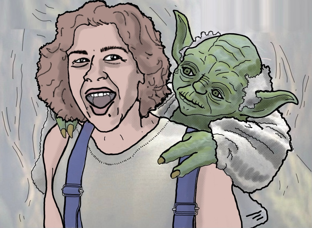 Ha nd drawn picture of me carrying Yoda.