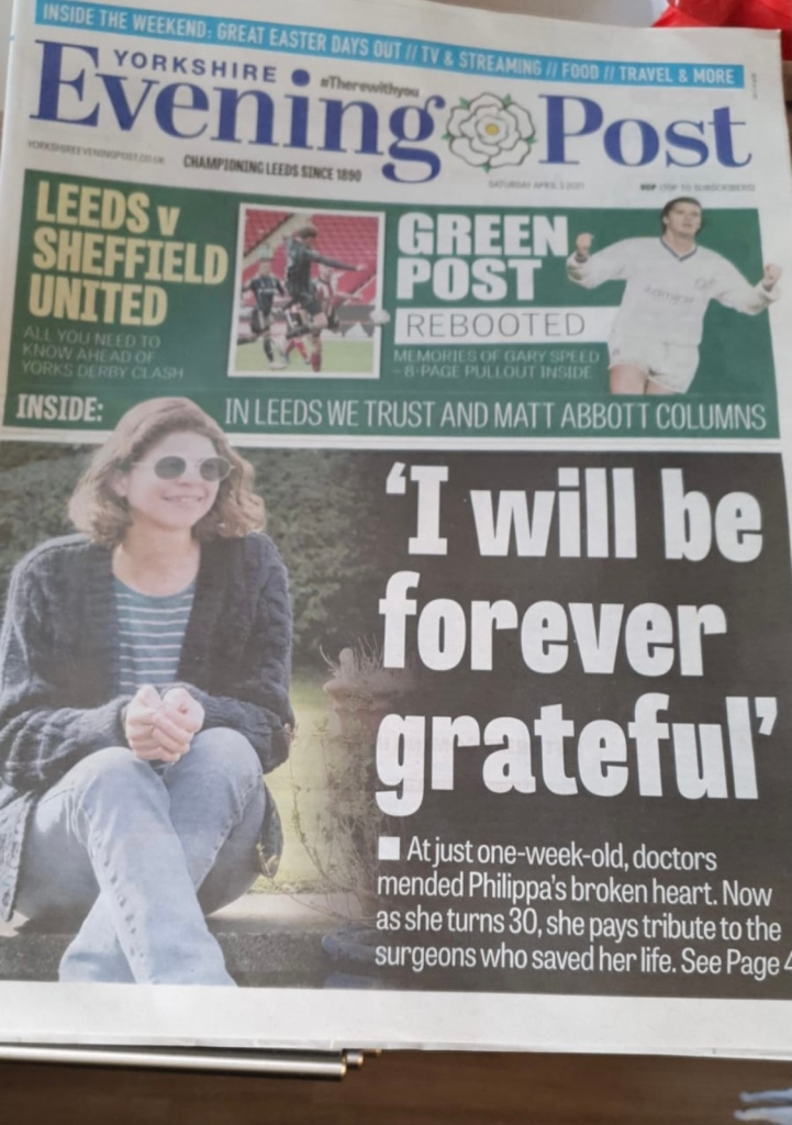 Me on the front page of the Yorkshire Evening Post. Headline 'I will be forever greatful'