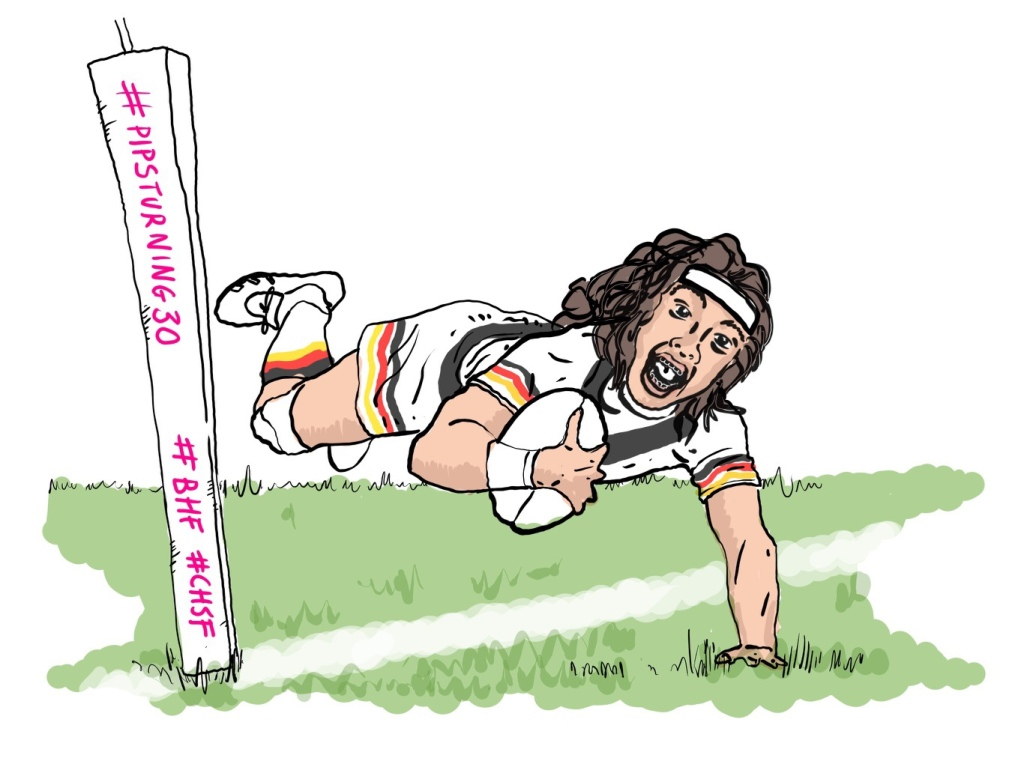 Hand drawn image of me scoring a try.