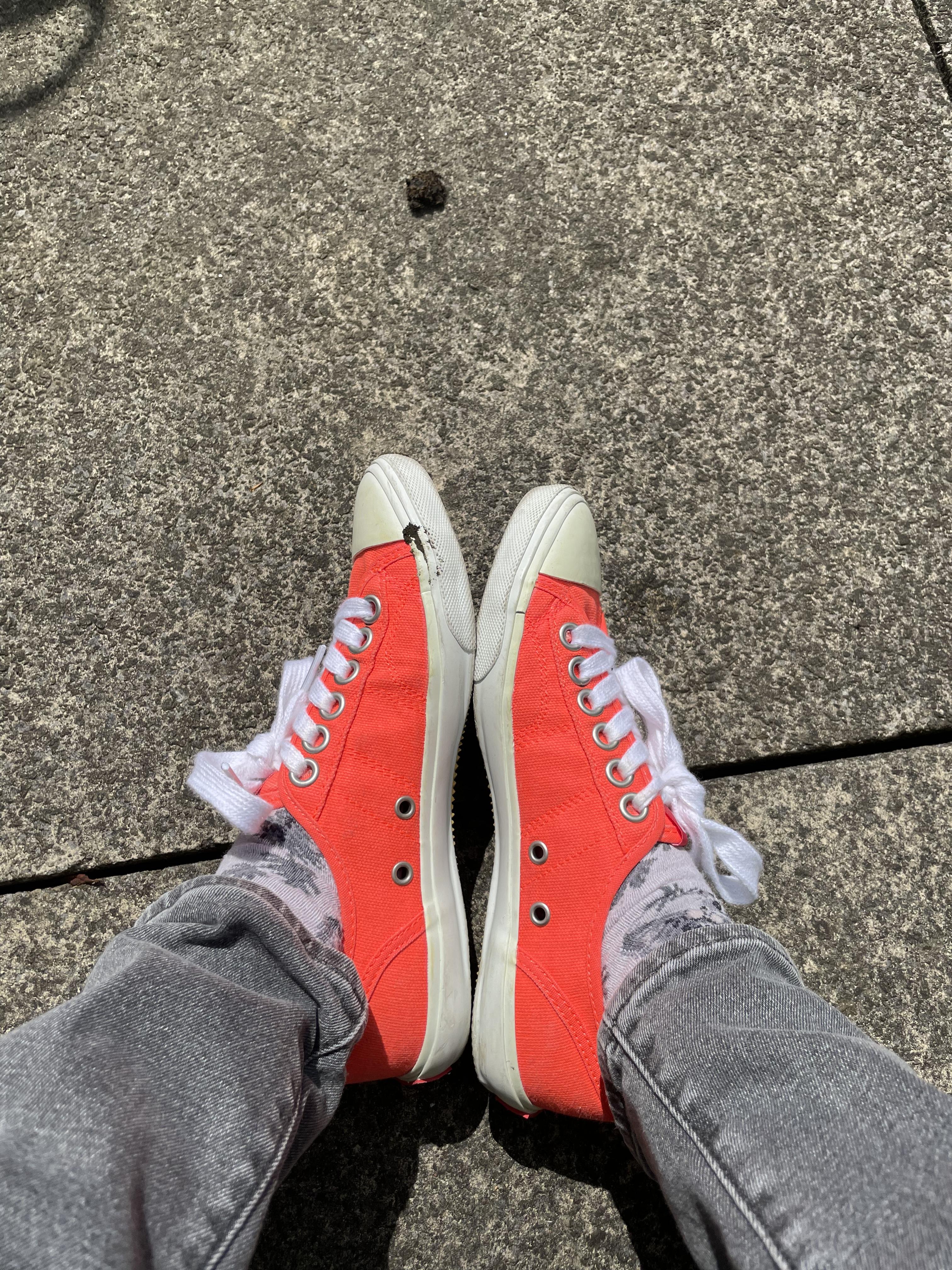 looking down at my orange pumps.